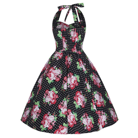 Pretty Kitty Black Polka Dot Floral Halterneck Swing Dress