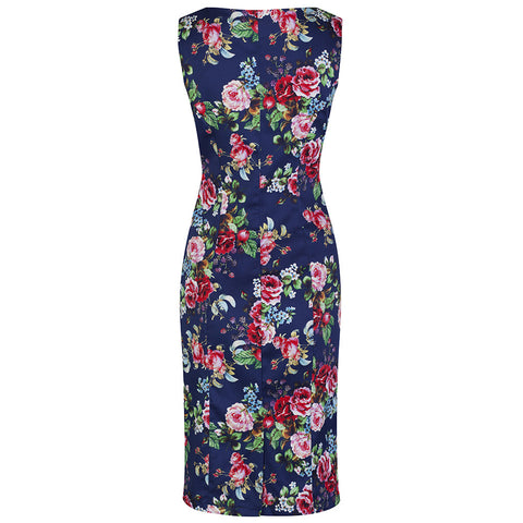Navy Blue Floral Print Sexy Wiggle Pencil Dress