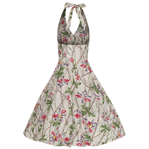Bamboo Floral Print Vintage Swing Dress