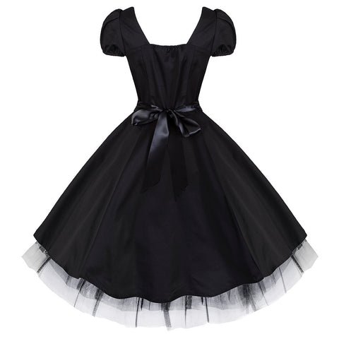 Pretty Kitty Black Bow Rockabilly Tea dress