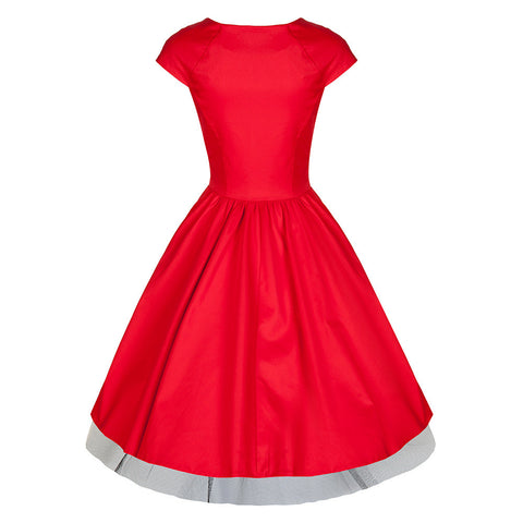 Pretty Kitty Red Black V Neck Swing Dress
