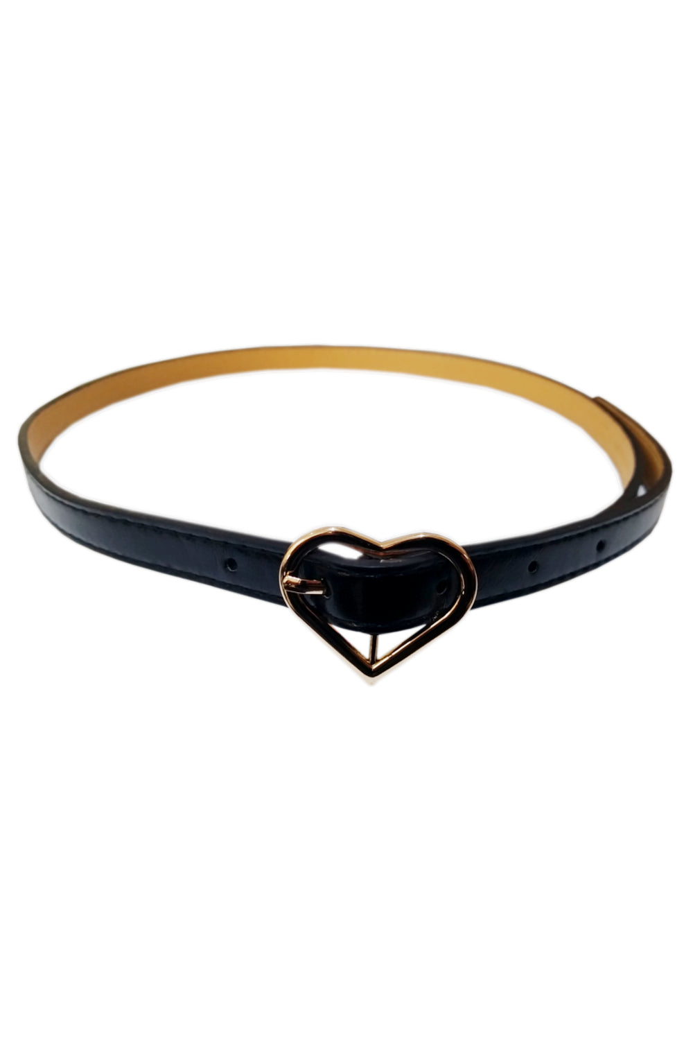 Black Heart Rose Gold Buckle Belt - Pretty Kitty Fashion