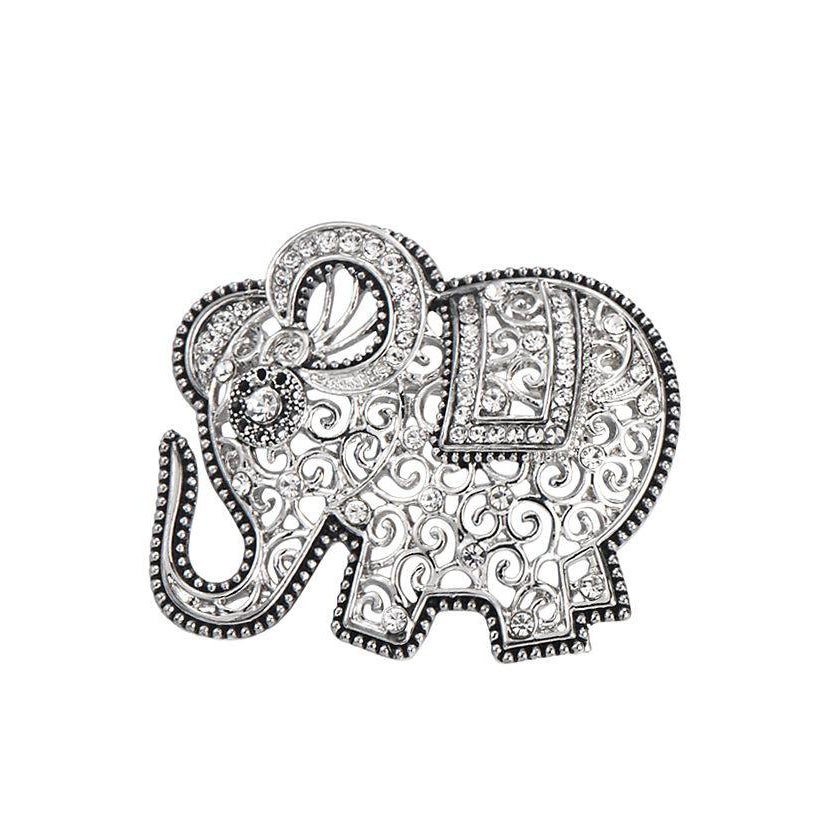 Antique Silver Elephant Brooch