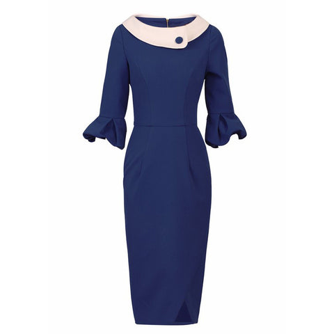 Royal Blue 1/2 Sleeve Frill Cuff Boat Neck Collar Pencil Dress