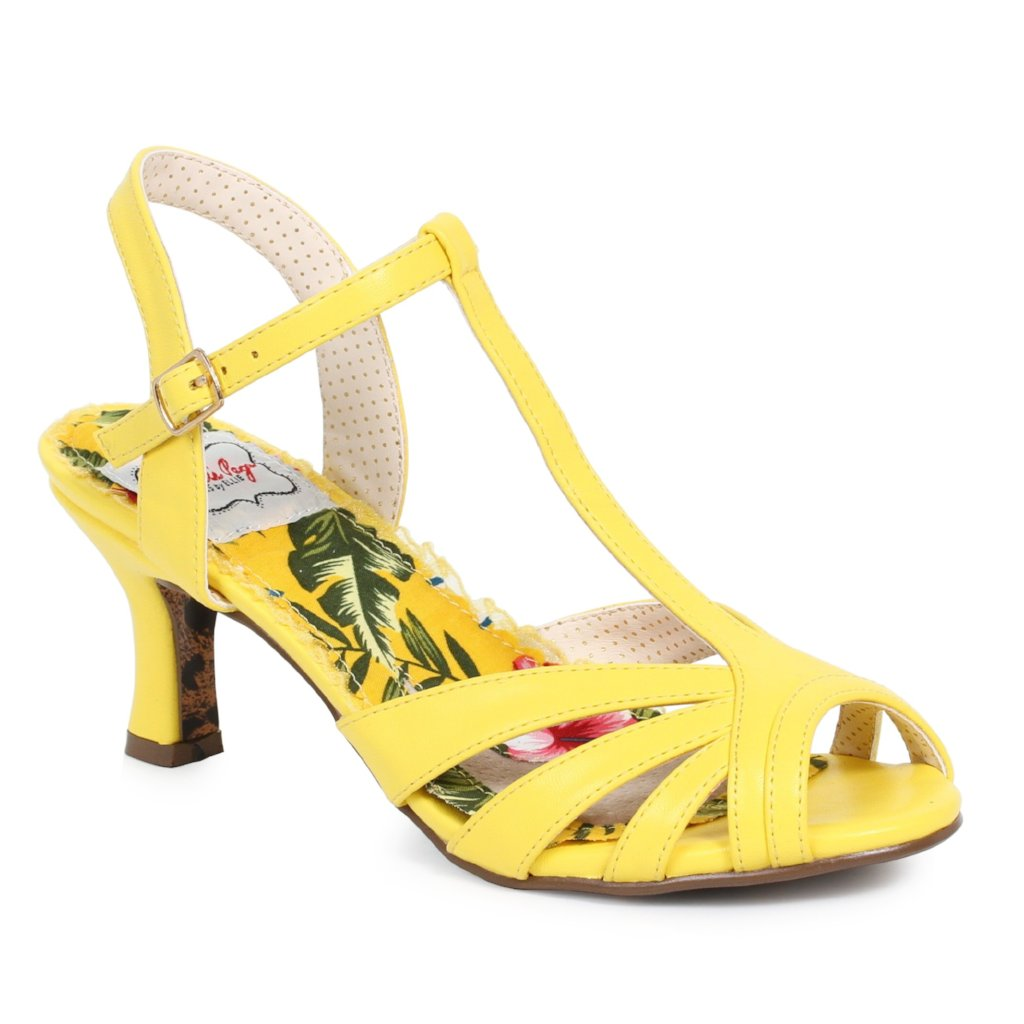 Bettie Page Yellow Retro Peep Toe T Bar Sandals - Pretty Kitty Fashion