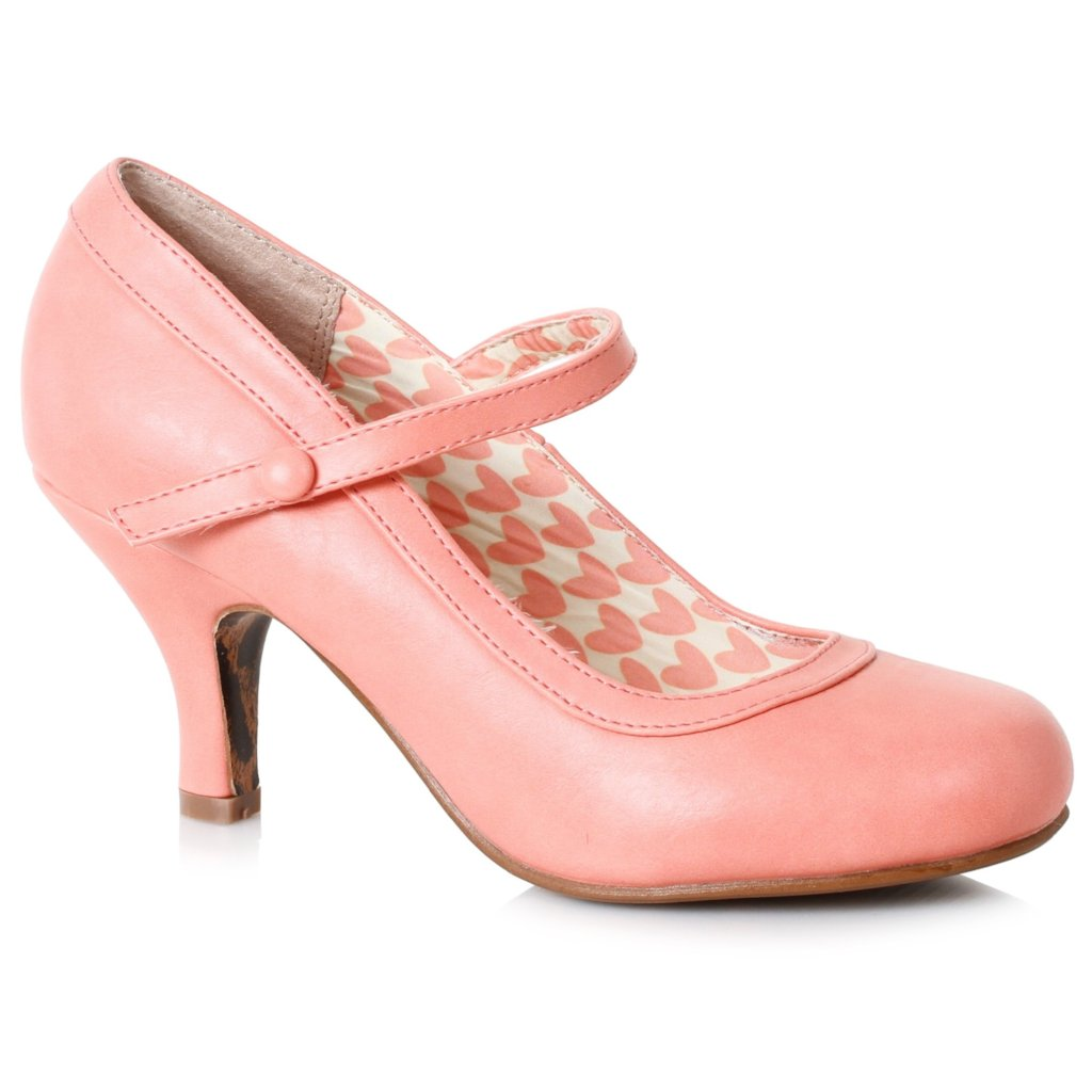 Bettie Page Peach Pink Retro Mary Jane Heels - Pretty Kitty Fashion