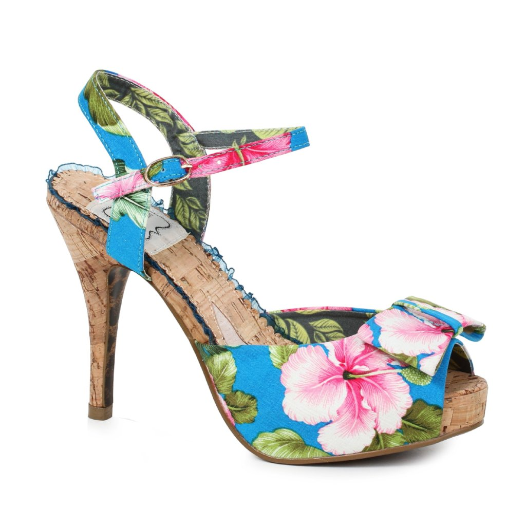 Bettie Page Blue Pink Floral High Heel Peep Toe Sandals eb413c4bf