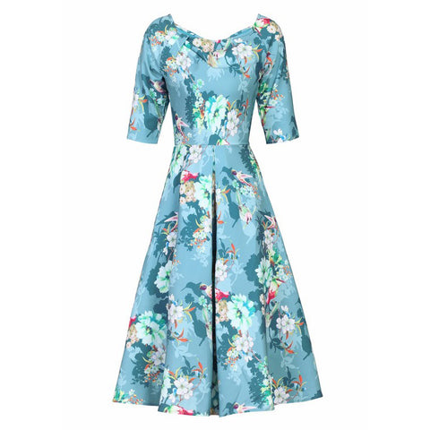 Teal Blue Floral Print 1/2 Sleeve 50s Swing Dress