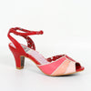 Bettie Page Abela Red and Pink Peep Toe Ankle Strap Heels