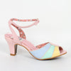Bettie Page Abela Pink, Blue, Yellow Peep Toe Ankle Strap Heels - Pretty Kitty Fashion