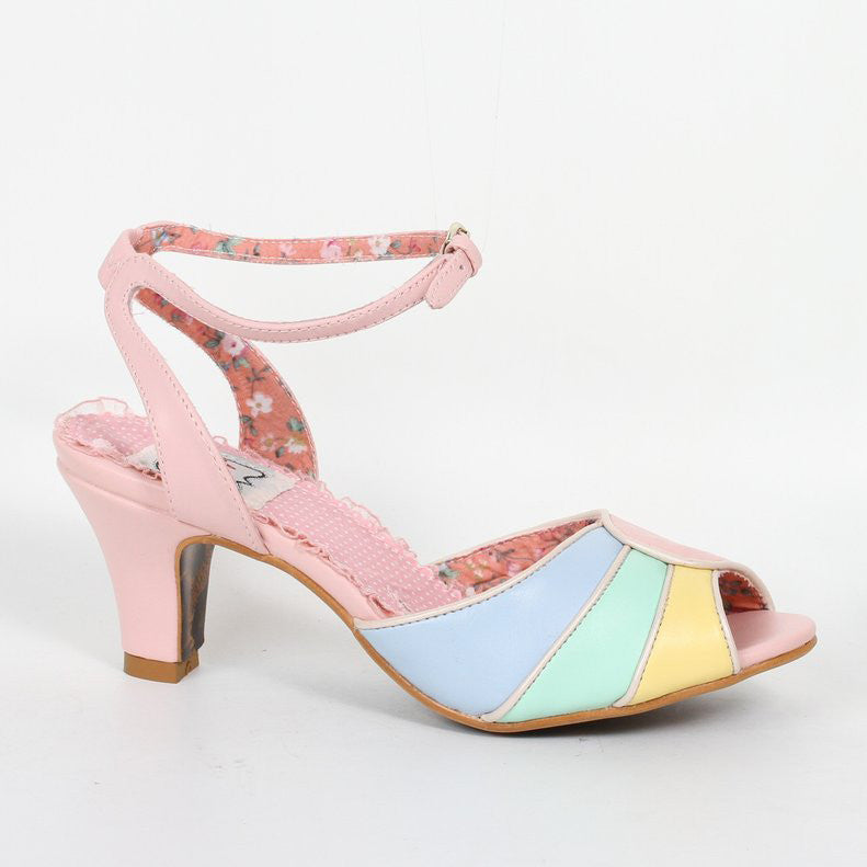 Bettie Page Abela Pink, Blue, Yellow Peep Toe Ankle Strap Heels