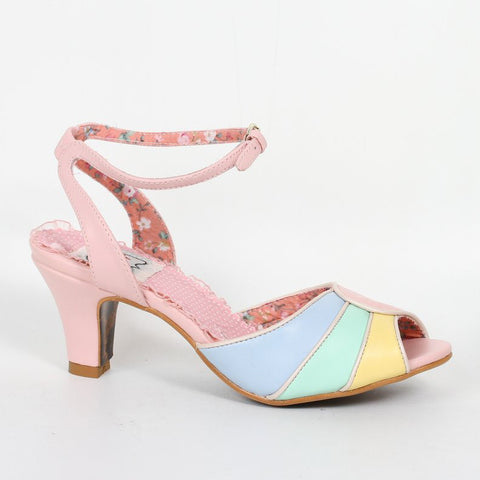 Bettie Page Abela Pink and Tri-Colour Peep Toe Ankle Strap Heels