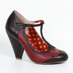 Bettie Page Retro Black and Red T-Bar Heels