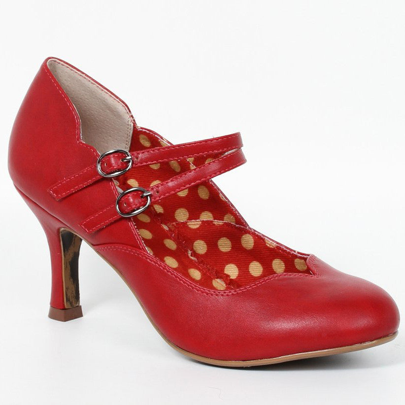 Bettie Page Red Retro Double Strap Mary Jane Heels