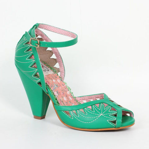 Bettie Page Willow Green Cut Out Peep Toe Ankle Strap Heels