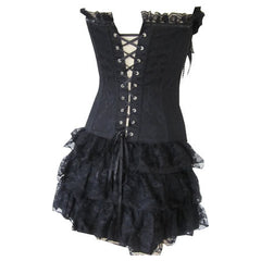 Black Burlesque Goth Corset Rock Lace Dress - Pretty Kitty Fashion