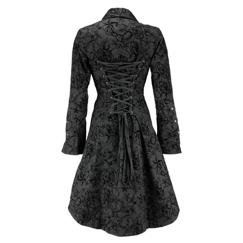 Black Vintage Tattoo Flock Fabric Long Coat - Pretty Kitty Fashion