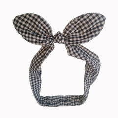 Black White Gingham Check Vintage Headscarf