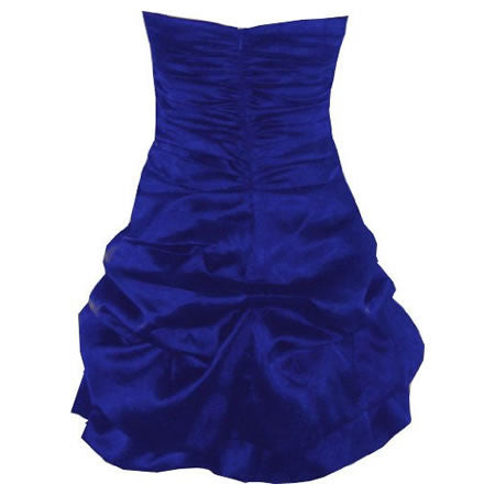 Blue Silk Satin Wedding Evening Party Cocktail Bridesmaid Prom Dress - Pretty Kitty Fashion