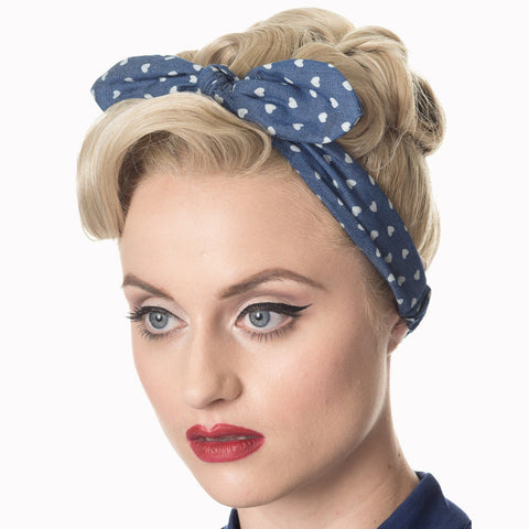 Blue White Heart Vintage Headscarf
