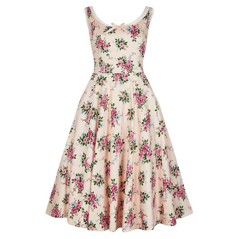 Collectif Vintage Cream Floral 40s Swing Dress