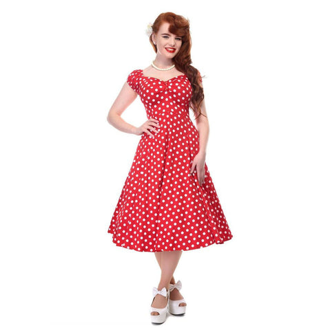 Collectif Vintage Red and White Polka Dot Swing Dress