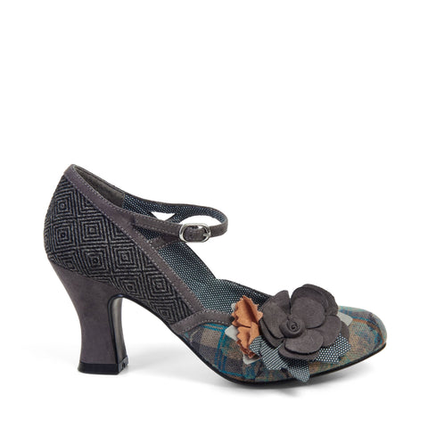 Ruby Shoo Grey Floral Corsage Mary Jane Heels