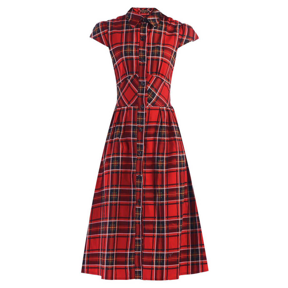 Red Tartan Check Retro Shirt Top 50s Burns Swing Tea Dress