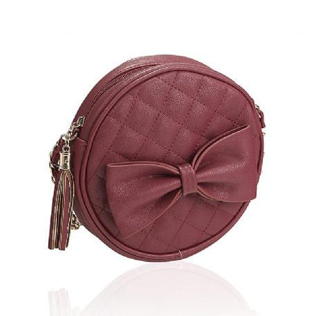 Deep Red Vintage Round Bow Bag