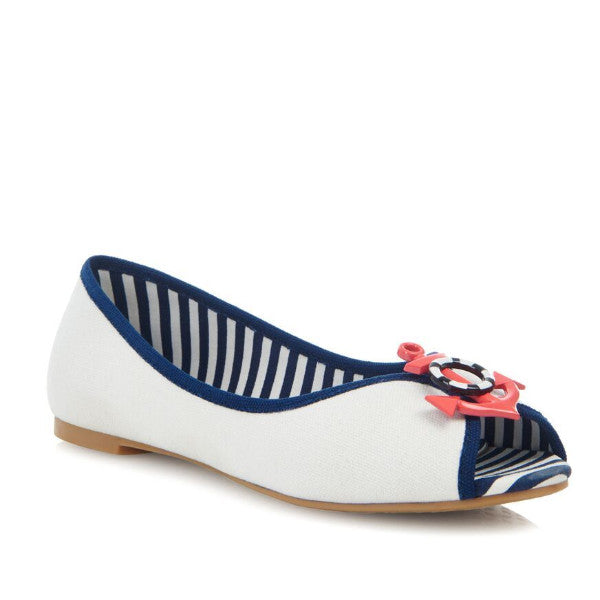 Ivory Navy Nautical Marine Peep Toe Flat Pumps - Pretty Kitty Fashion