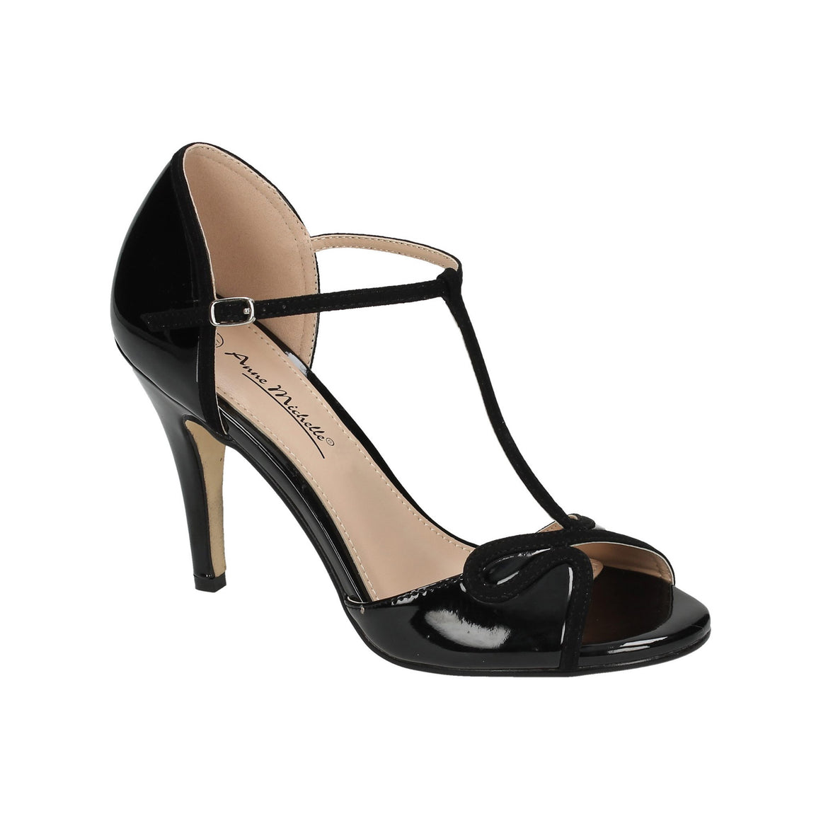 Black T-Bar Open Toe Heel Sandals