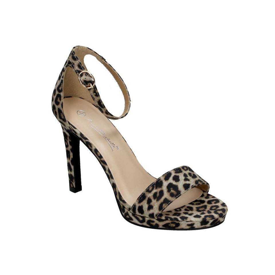 Leopard Print Stiletto Heel Sandals