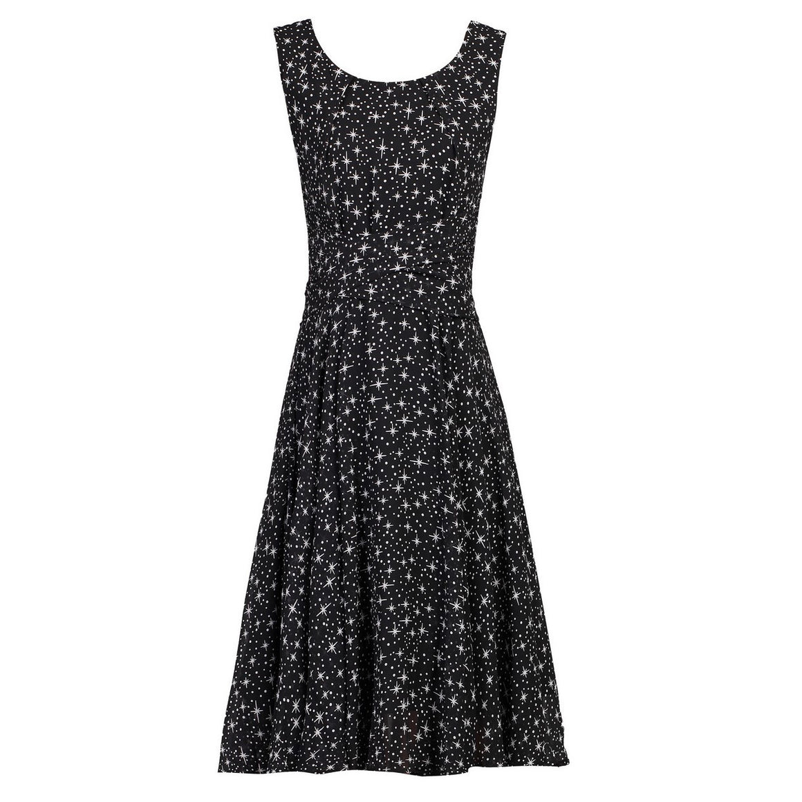 Black Star Wrap Sleeveless Chiffon 50s Audrey Swing Dress - Pretty Kitty Fashion