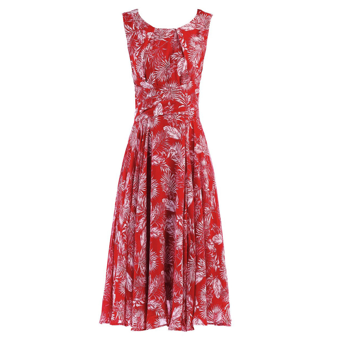 Red Floral Wrap Sleeveless Chiffon 50s Audrey Swing Dress