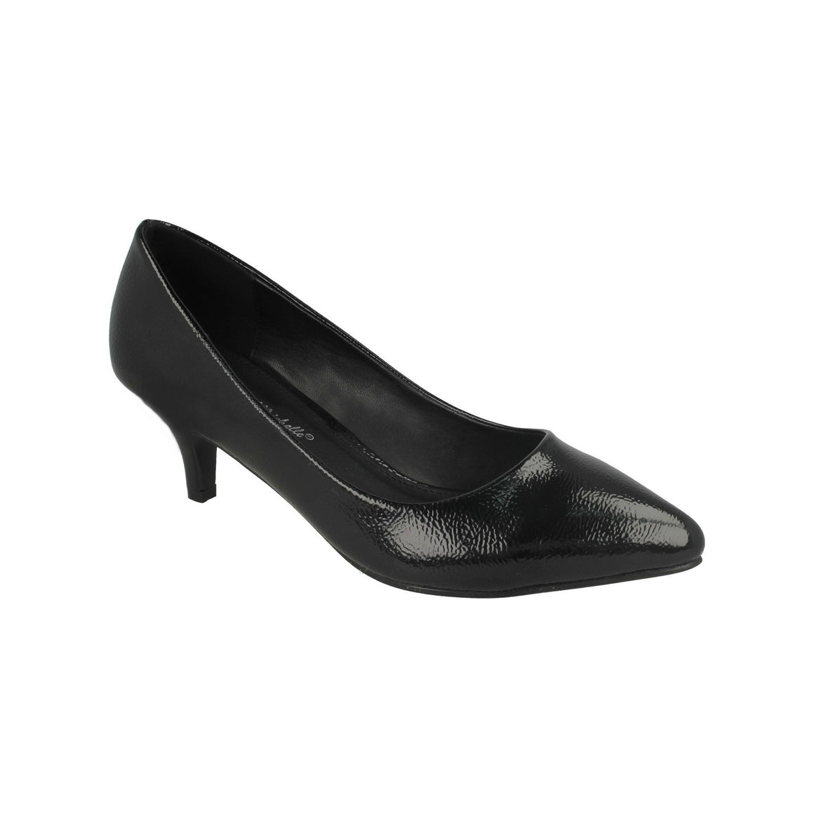 Black Patent Kitten Heel Court Shoe