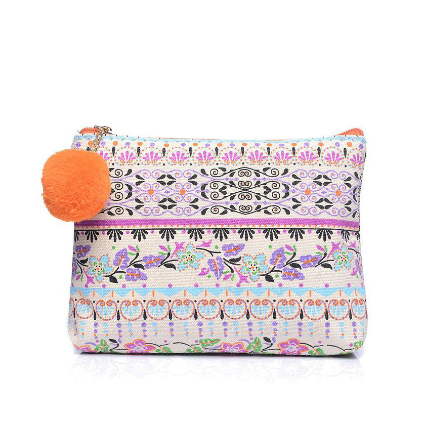 Floral Print Canvas Make Up Cosmetic Wash Bag