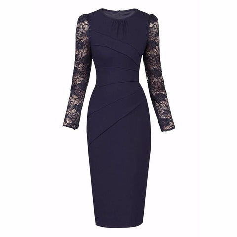Navy Blue Long Lace Sleeve Wiggle Pencil Dress