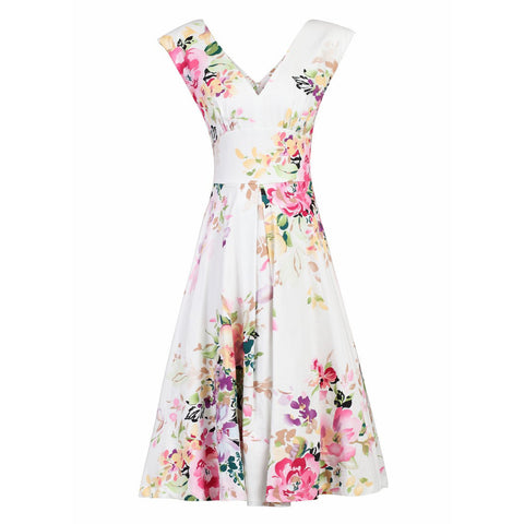 Cream White Floral Print Sleeveless V Neck 50s Swing Flare Dress