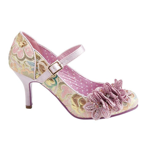 Lilac Gold Tapestry Court Shoes