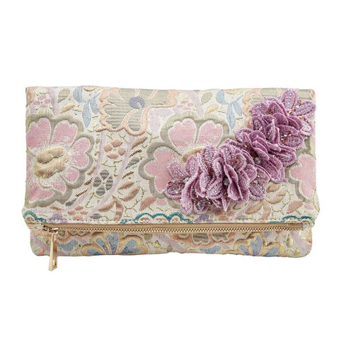 Lilac Gold Corsage Clutch Bag