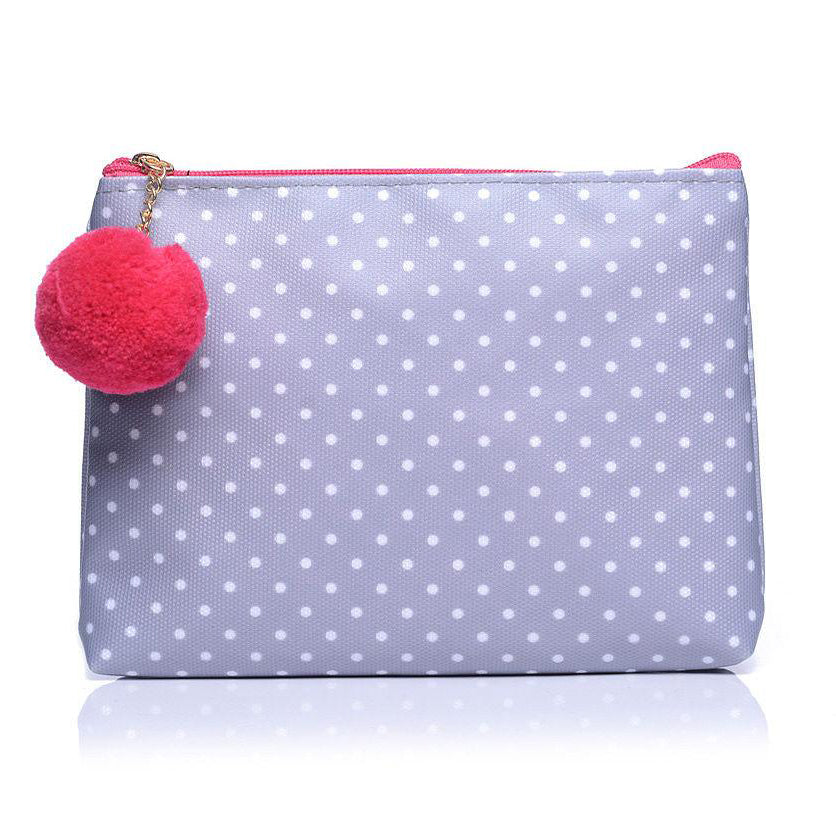 Grey Polka Dot Make Up Cosmetic Wash Bag