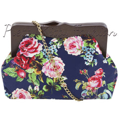 Navy Floral Clutch Bag