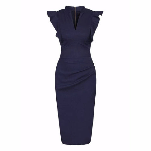 Navy Blue Ruffle Shoulder Bodycon Pencil Dress