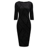 Black Velvet Glitter 3/4 Sleeve Pencil Wiggle Bodycon Party Dress