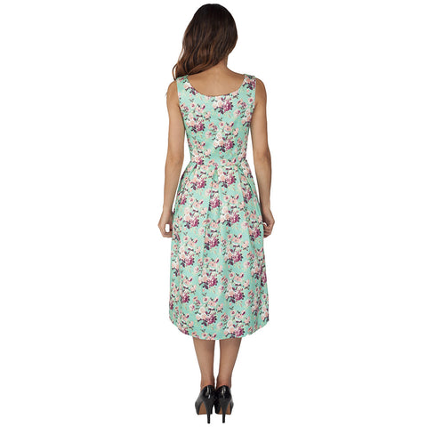 Pretty Kitty Green Floral Cotton Button Dress