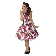 Cream White and Pink Floral Audrey 50s Swing Dress