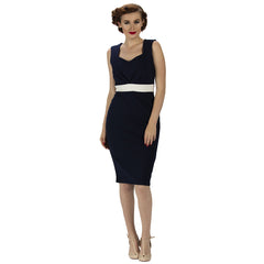 Luxury Navy Pencil Dress - Pretty Kitty Fashion