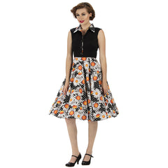Black with Sunflower and White Polka Dot Print Sleeveless Rockabilly Tea Dress