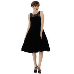 Black Velvet Lace Rockabilly Cocktail Swing Dress - Pretty Kitty Fashion