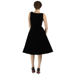 Black Velvet & Lace Rockabilly Cocktail Swing Dress
